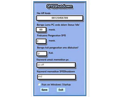 Cara MenShutdown Komputer Dengan SMS
