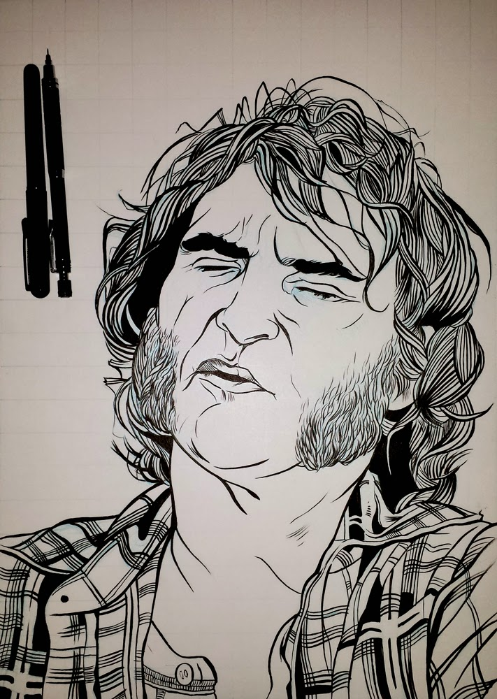 Joaquin Phoenix black and white illustration