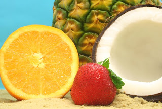 Coconut, pineapple, orange and strawberry ingredients