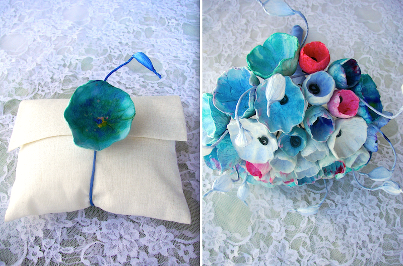 eco friendly wedding inspiration: tribute to Monet. Paper flowers accessories