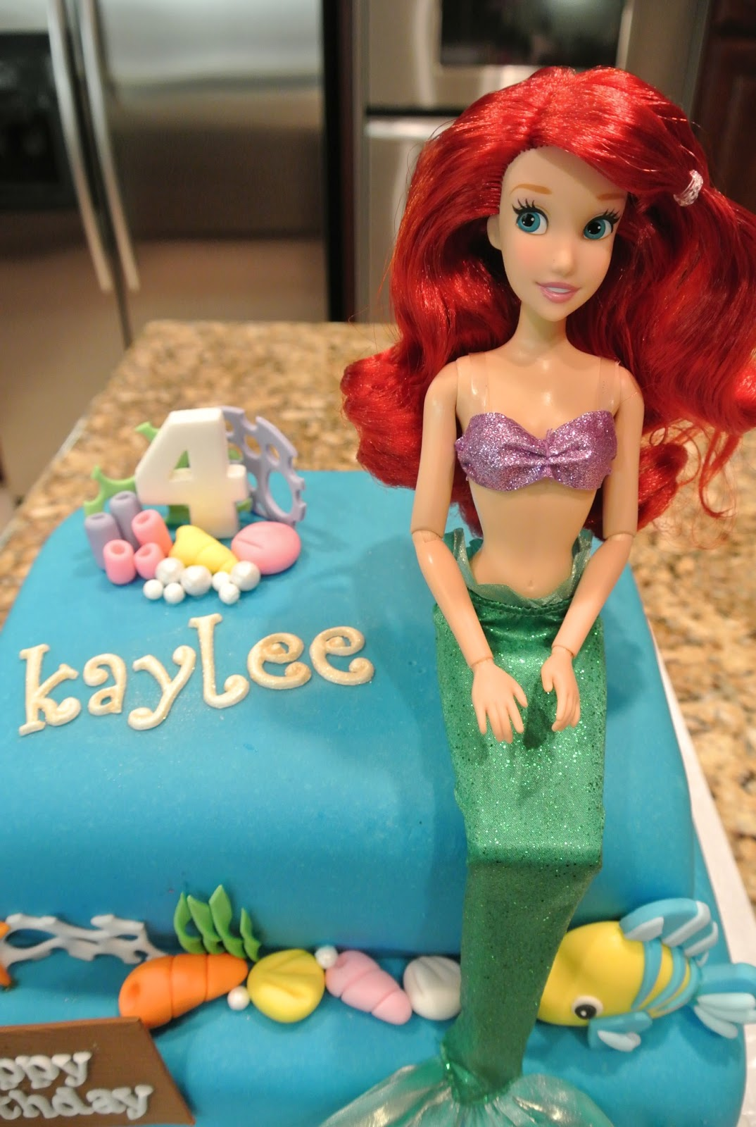 Beautiful Kitchen Little Mermaid Cake for Kaylees 4th Birthday