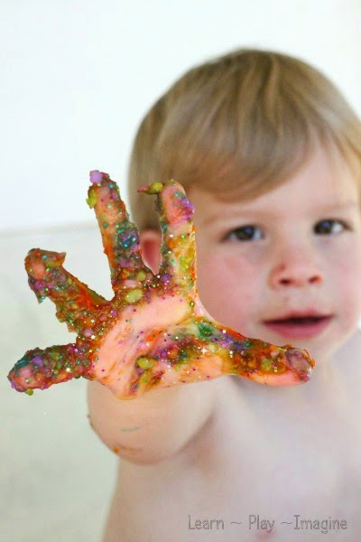 Homemade sparkly finger paint recipe - perfect for art and sensory play