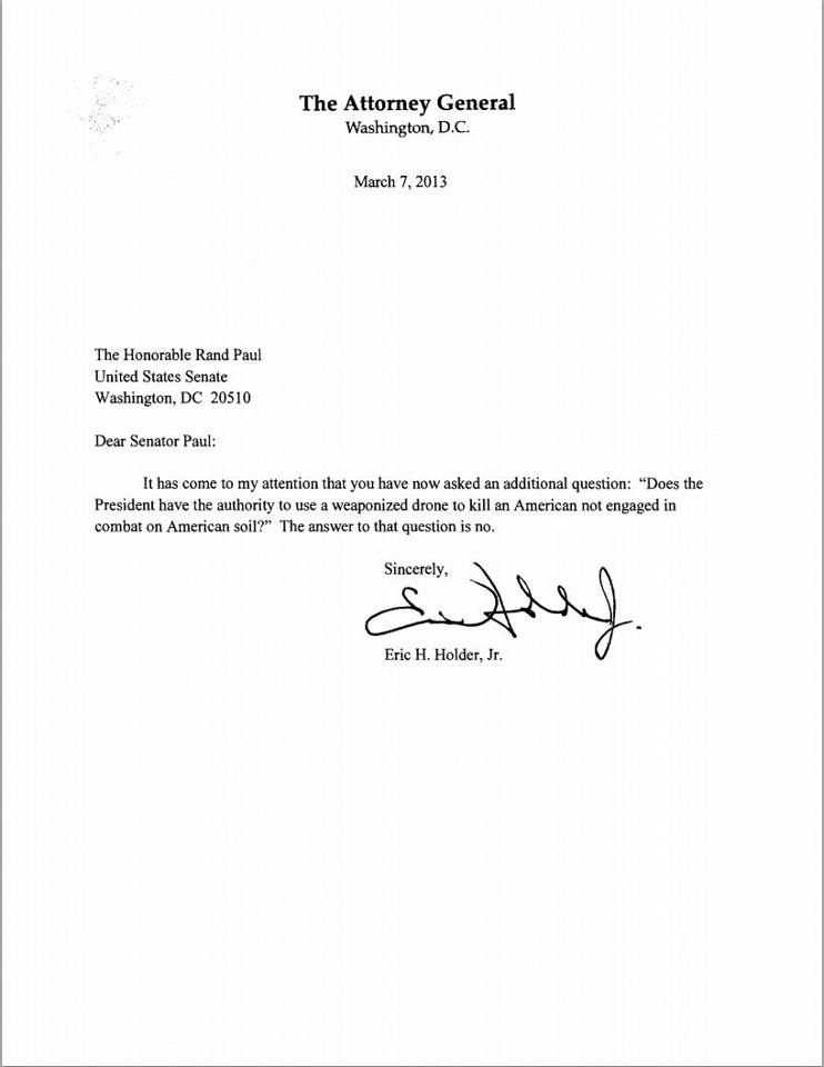 Reality based libertarianism and other stuff rand paul forces after rand pauls filibuster of the senate yesterday attorney general eric holder sent paul a letter with the simple answer to the question we have all altavistaventures Image collections