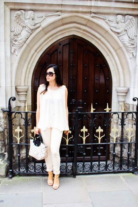 peach skinny indigo paper jeans, peach outfit, vancouver fashion blogger, longchamp purse