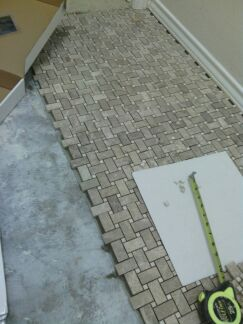 As You Can See In This Photo I Have Laid Out Some Tile And Will Cut It Before Lying Adhesive The Reason For Is Two Fold