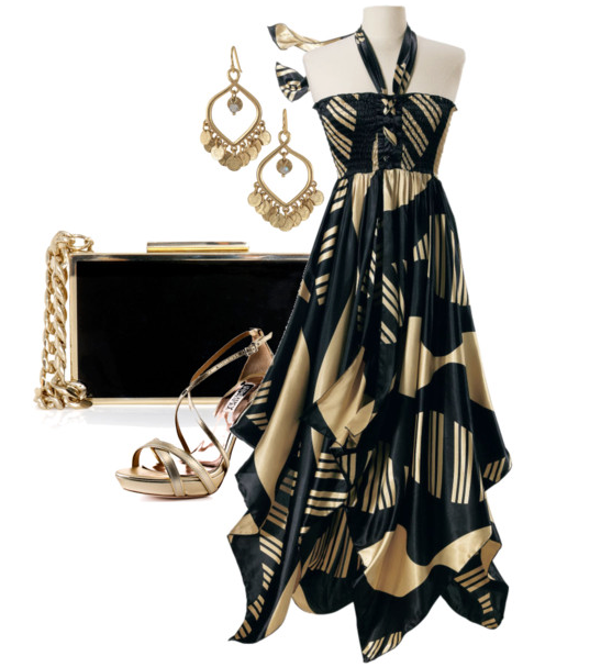 Black and gold maxi dress, high heel golden sandals, hand bag and ear rings for ladies