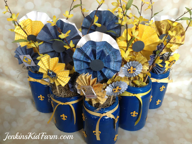 Blue and Gold Banquet Centerpiece - Lollies In A Can