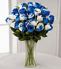 Blue rainbow rose bouquet
