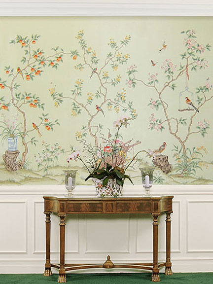 Chinoiserie chic green finds at paul montgomery studio for Chinoiserie mural wallpaper