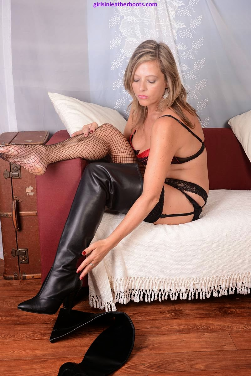 Hot Blonde MILF in Lingerie steps into Sexy Black Leather Thigh Boots