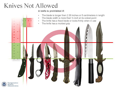 A knife is prohibited if: • The blade is longer than 2.36 inches or 6 centimeters in length • The blade width is more than ½ inch at its widest point • The knife has a fixed blade or locks firmly when in use • The knife has a molded grip
