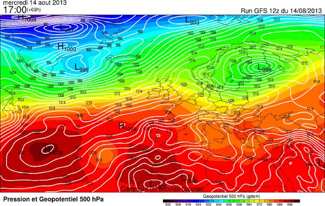 Exemple de carte de prévision produite à partir du modèle GFS américain