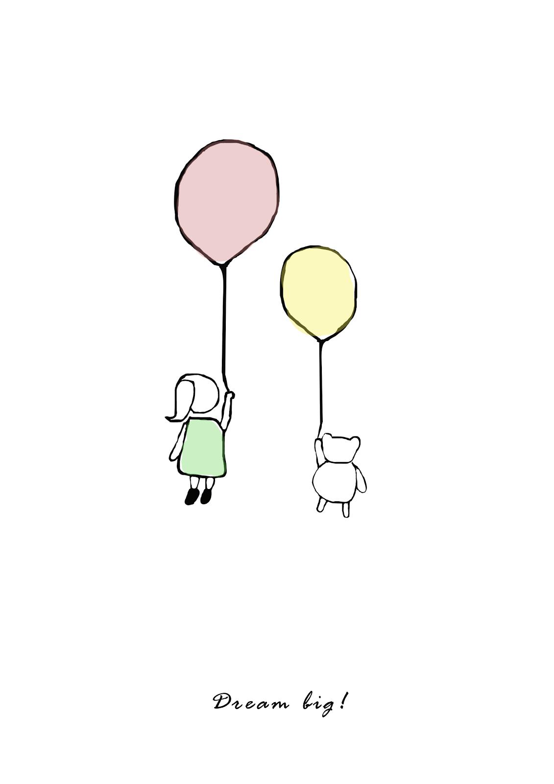 darmowa grafika plakat dziewczynka z balonem