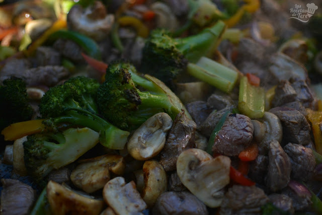 Vegetales y vacío a la plancha.