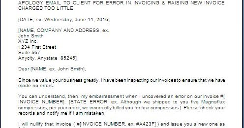 Apology Letter To Customer For Wrong Billing