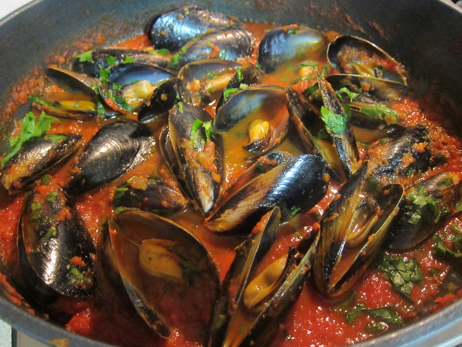Saucy Thyme: Braised Mussels with Tomato, Chilli and Basil