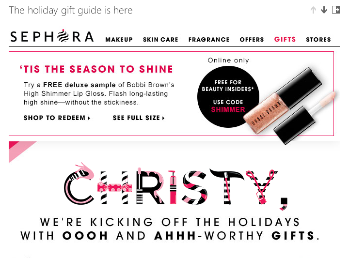 Sephora's personalized holiday email