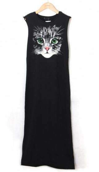 black cat face print sleeveless cotton dress, CiChic.com