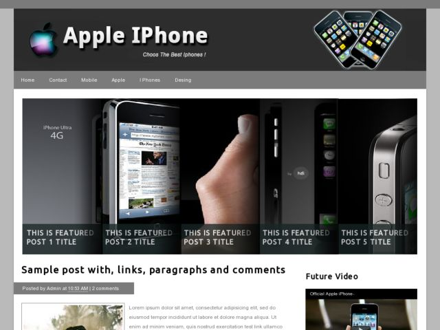 Apple iPhone Blogger Template | Blogger Templates Gallery