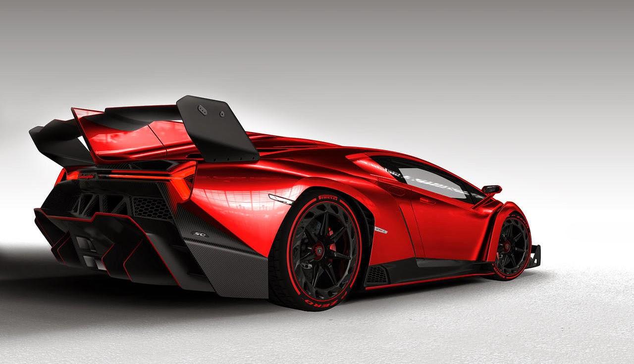 Foto Mobil Keren Red Lamborghini Veneno HD Back Side View