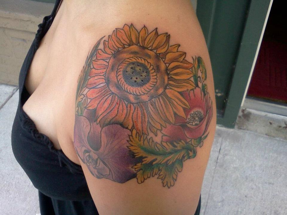 Flower Shoulder Cap Tattoo