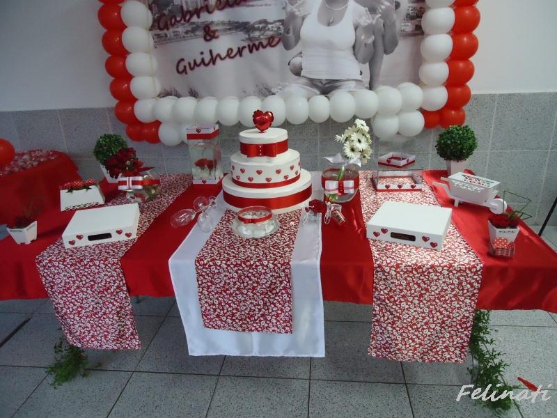 Felinati Decorações~ Decoracao Noivado Branco E Vermelho