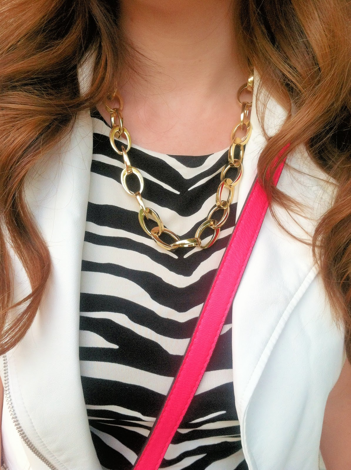 what-to-wear-to-a-bachelorette-party, girls-night-out-fashion, jennifer-lopez-zebra-print-sheath-dress-kohls, jennifer-lopez-white-faux-leather-moto-vest-kohls, target-mini-neon-pink-crossbody, target-gold-chain-link-necklace, simply-vera-wang-contrast-heels-kohls,