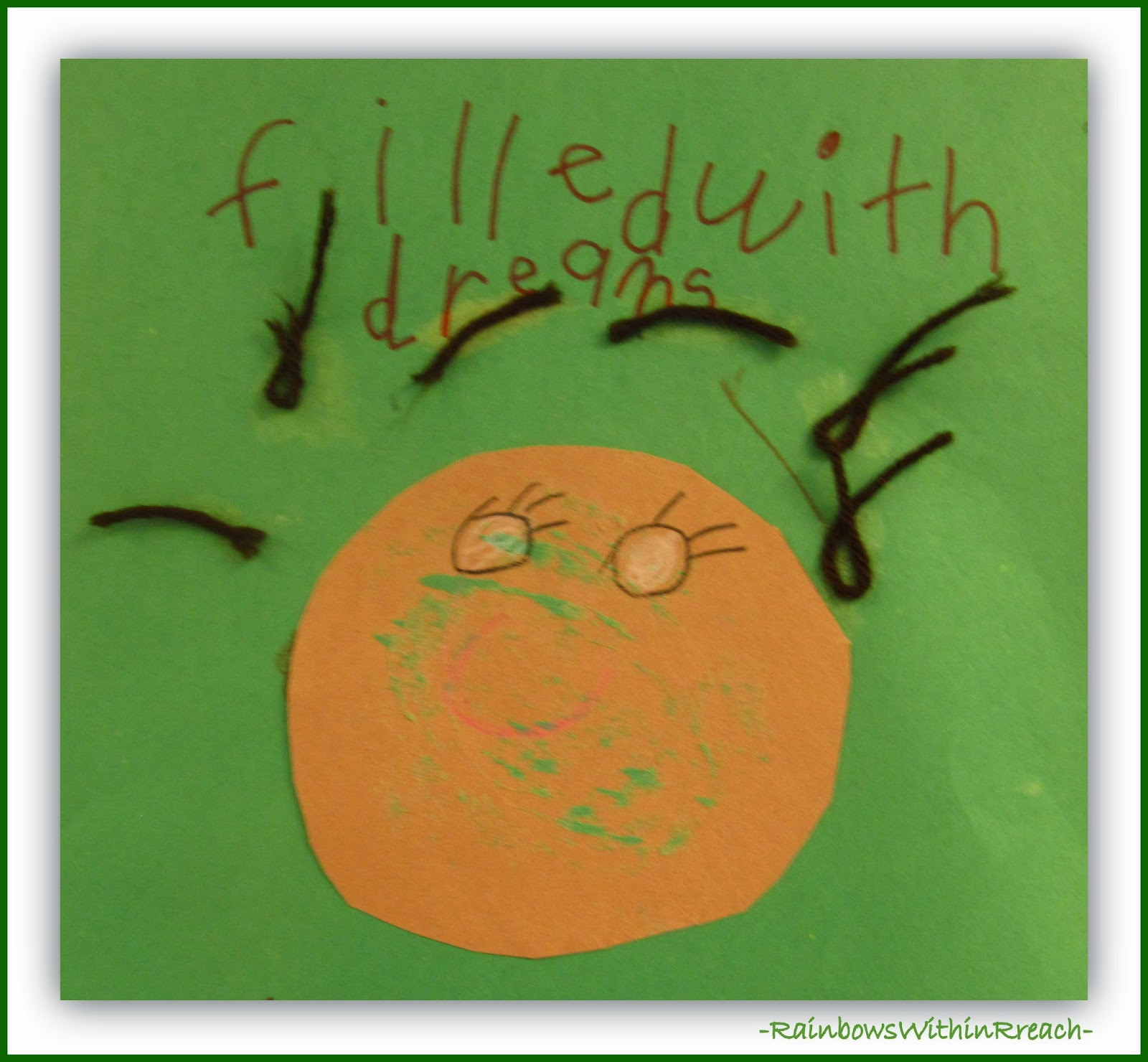 "Kindergarten Self-Portrait in response to ""You're Wonderful"" by Debbie Clement"