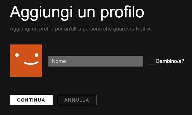 come creare nuovo profilo netflix