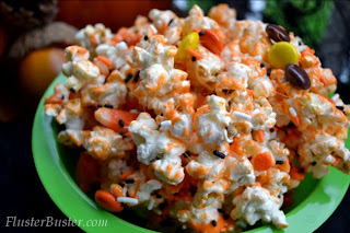 Snack Recipes Pumpkin Spice Popcorn Munch  from Fluster Buster
