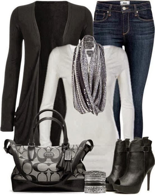 Black cardigan, white sweater, scarf, jeans, handbag and high heel shoes for fall