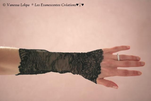mitaines dentelle noire sexy lingerie boudoir femme victorien style vampire sorcière halloween bijoux accssoires samhain
