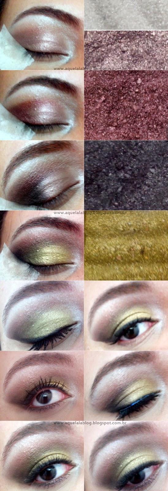Maquiagem para o Natal, Makeup para o Natal com batom vermelho e sombra dourada