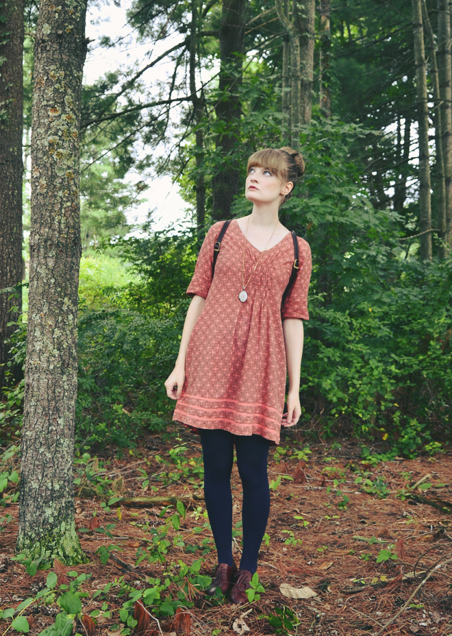 Salmon cotton dress with navy tights