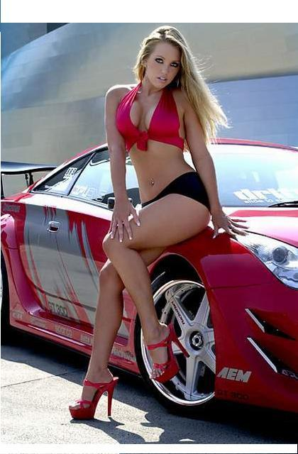 hot naked girls next to cars