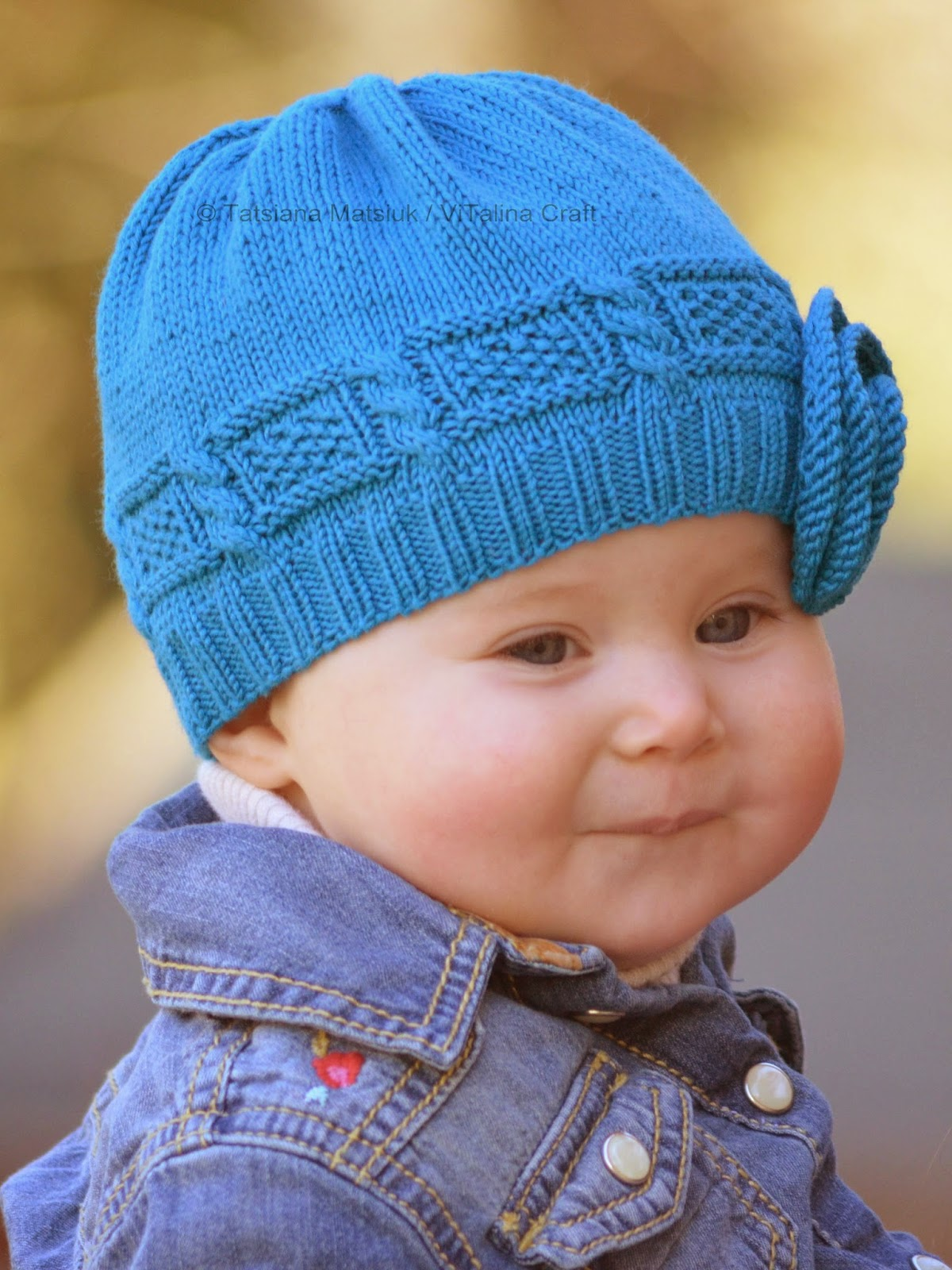 Azure Twist Flower Baby Hat Knitting Pattern | ViTalina Craft