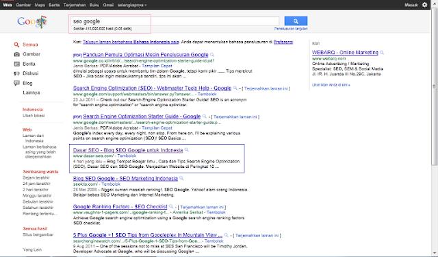 Hasil Keyword SEO Google di SERP Google Indonesia