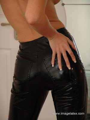 Perfect Sexy Ass in Tight Black Latex Jeans