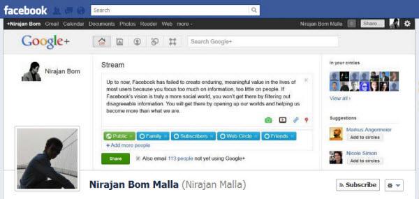 timeline facebook google plus