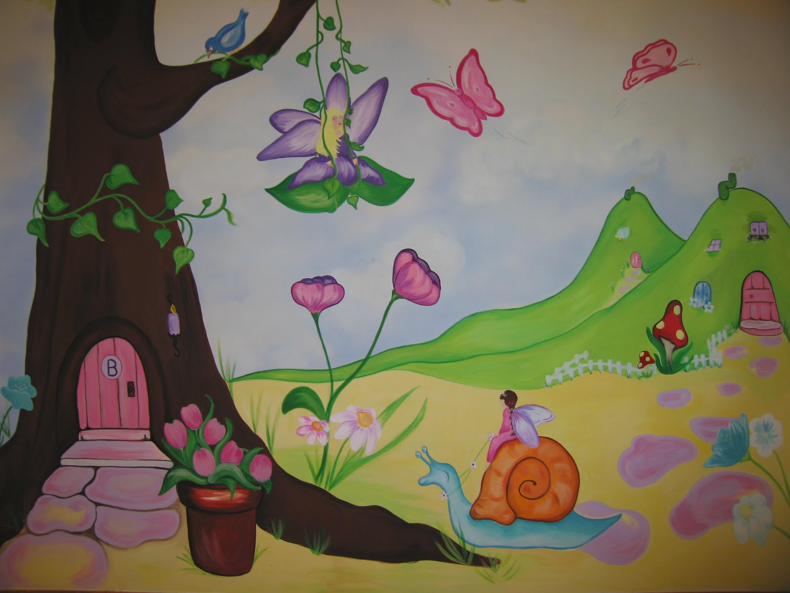 Mural designs the muralist for Fairy garden mural