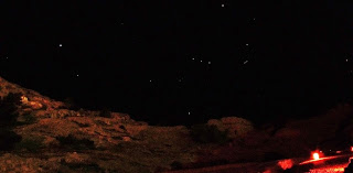constellation of Orion over the hills of Petra