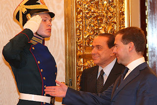 Silvio Berlusconi et Dmitry Medvedev en 2008