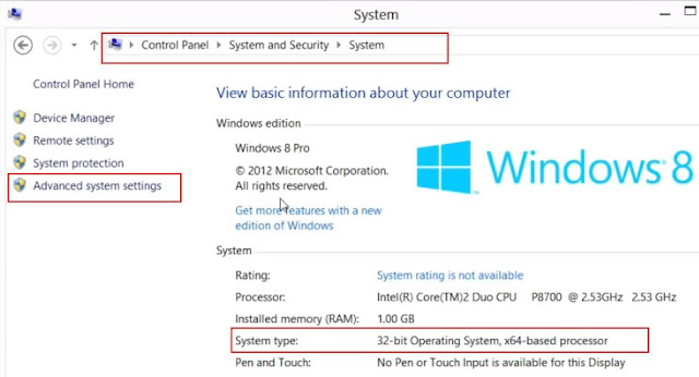 How to find if Windows 7 and Windows 8 is 32-bit or 64-bit