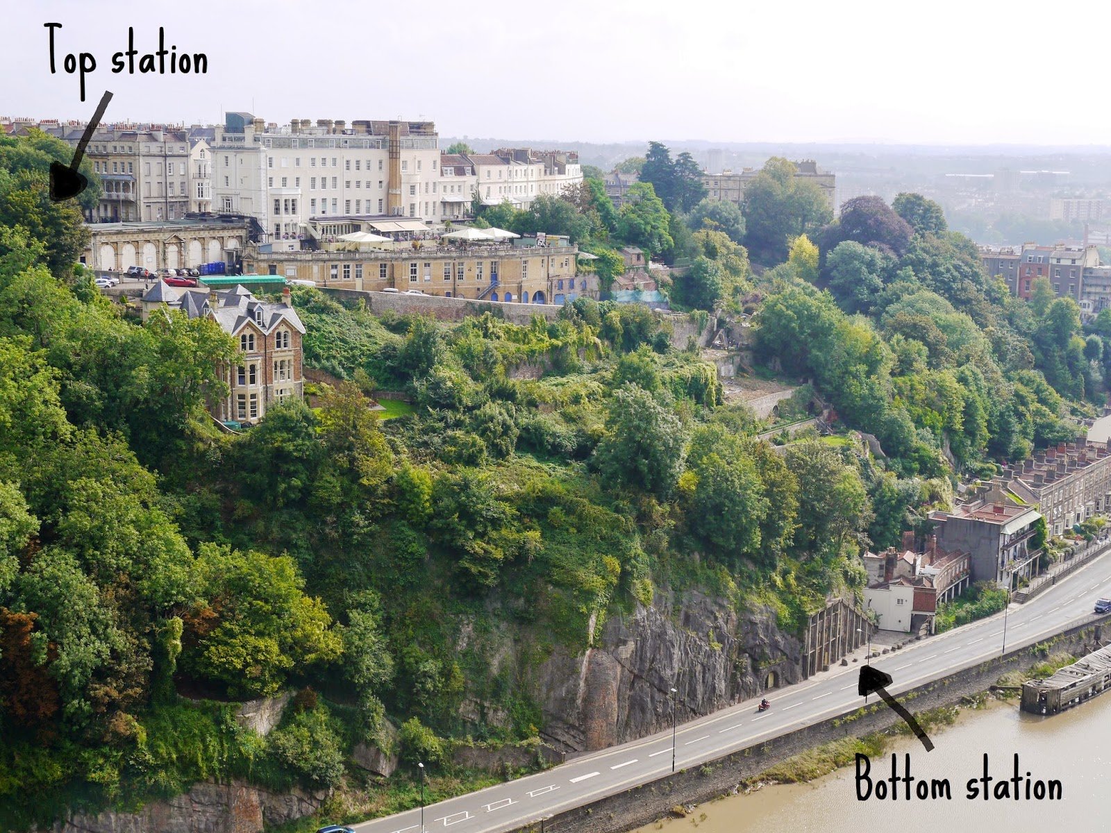 Clifton Rocks Railway, Bristol - location of top and bottom stations