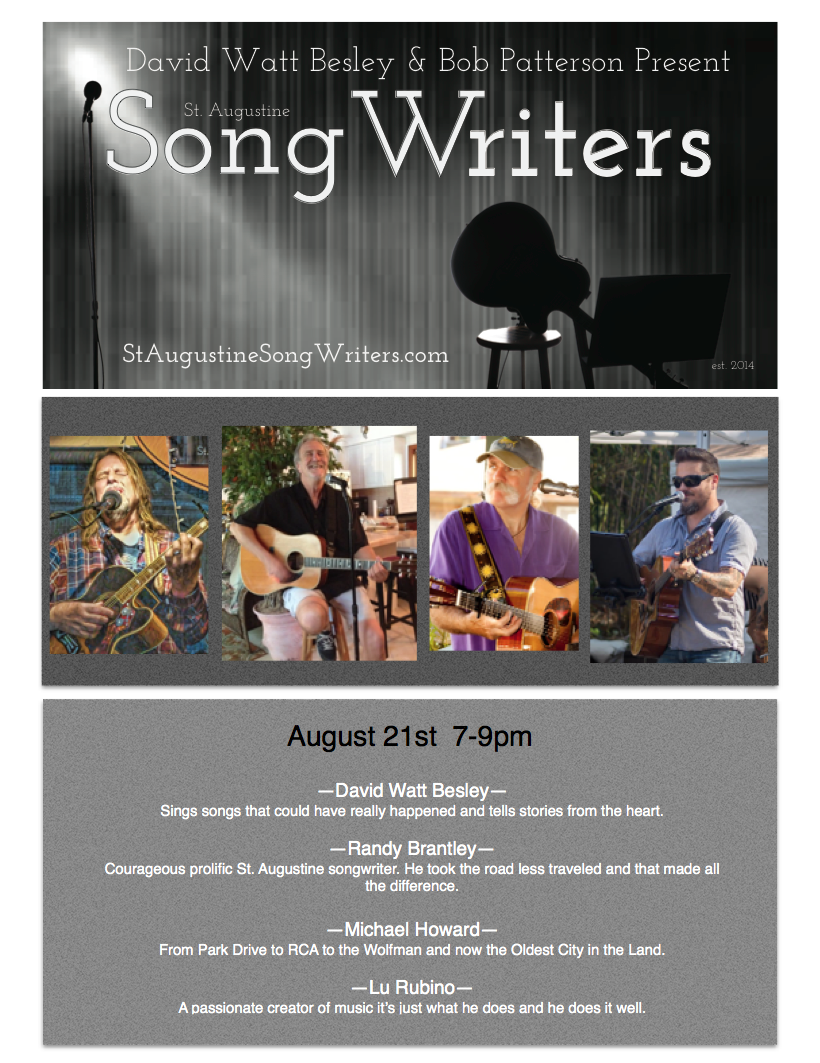 SONGWRITERS AUGUST 21, 2017 7-9pm