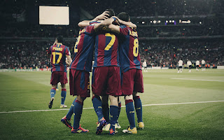 Barcelona Soccer Players On Stadium HD Wallpaper