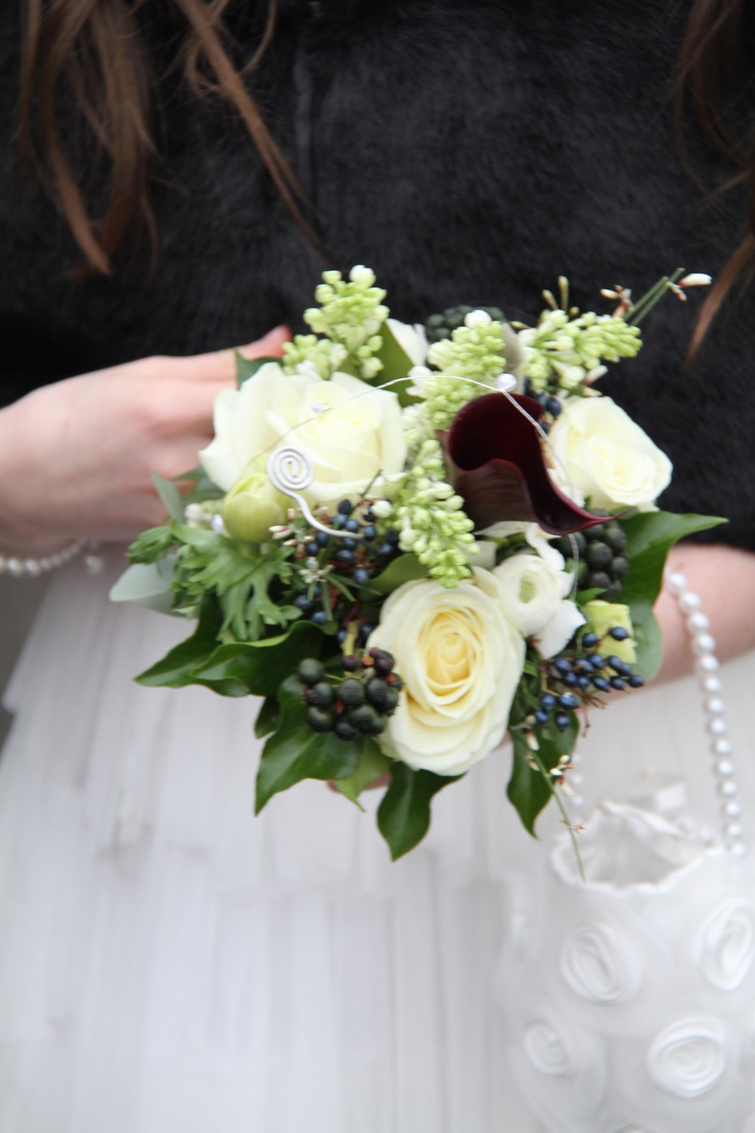 Flower design beautiful bridesmaids bouquets black white flower black and white posies perfect for little flower girls paper whites roses anemones and white lilac are combined with black calla lilies and black izmirmasajfo