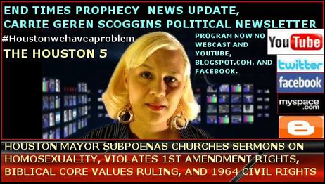END TIMES PROPHECY NEWS UPDATE, CARRIE GEREN SCOGGINS POLITICAL NEWSLETTER webcast and youtube vide
