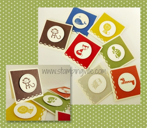 Color coordinated set of animal cards for children