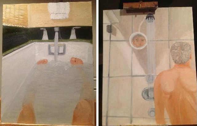 George W Bush self-portrait, shower, bath, politics, Bush